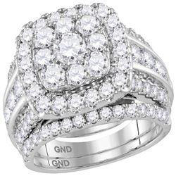 4.01 CTW Diamond Halo Bridal Engagement Ring 14KT White Gold - REF-394K5W