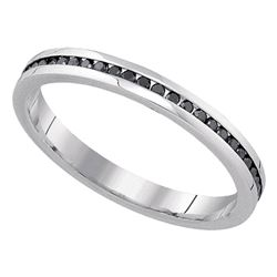 0.27 CTW Black Color Diamond Wedding Ring 10KT White Gold - REF-24W2K