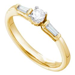 0.28 CTW Diamond Solitaire Bridal Engagement Ring 14KT Yellow Gold - REF-41N9F