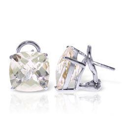Genuine 7.2 ctw White Topaz Earrings Jewelry 14KT White Gold - REF-46X5M