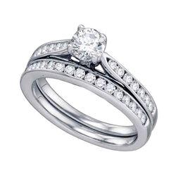 1 CTW Diamond Bridal Wedding Engagement Ring 14KT White Gold - REF-228M2H