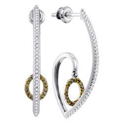 0.25 CTW Green Color Diamond J Hoop Oval Dangle Earrings 10KT White Gold - REF-37X5Y