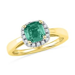 1.51 CTW Emerald Created Emerald Solitaire Ring 10KT Yellow Gold - REF-25Y4X