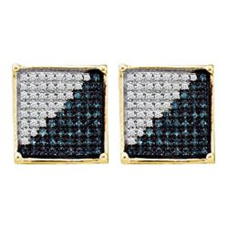 0.50 CTW Mens Blue Color Diamond Square Cluster Earrings 10KT Yellow Gold - REF-25X4Y