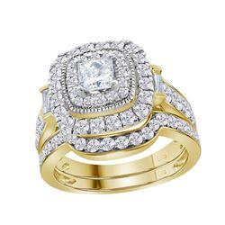 2 CTW Diamond Square Halo Bridal Engagement Ring 14KT Yellow Gold - REF-285M2H