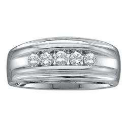 0.50 CTW Mens Channel-set Diamond Single Row Wedding Ring 10KT White Gold - REF-49K5W