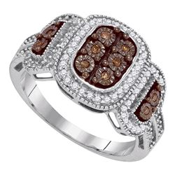 0.33 CTW Cognac-brown Color Diamond Cluster Ring 10KT White Gold - REF-32F9N