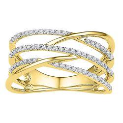 0.33 CTW Diamond Triple Row Openwork Crossover Ring 10KT Yellow Gold - REF-30X2Y