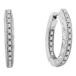 0.25 CTW Diamond In/Out Filigree Hoop Earrings 14KT White Gold - REF-59N9F