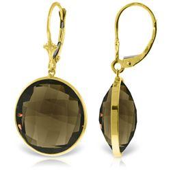 Genuine 34 ctw Smoky Quartz Earrings Jewelry 14KT Yellow Gold - REF-48T3A