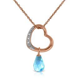 Genuine 2.28 ctw Blue Topaz & Diamond Necklace Jewelry 14KT Rose Gold - REF-40M7T