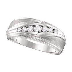 0.39 CTW Mens Diamond Wedding Ring 10KT White Gold - REF-52W4K