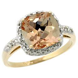 Natural 2.09 ctw Morganite & Diamond Engagement Ring 14K Yellow Gold - REF-52V2F