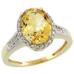 Natural 2.49 ctw Citrine & Diamond Engagement Ring 14K Yellow Gold - REF-42M2H