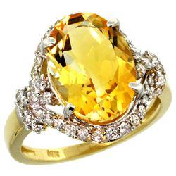 Natural 5.89 ctw citrine & Diamond Engagement Ring 14K Yellow Gold - REF-88G8M