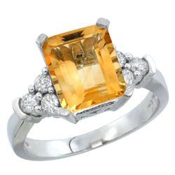 Natural 2.86 ctw citrine & Diamond Engagement Ring 14K White Gold - REF-65Z2Y