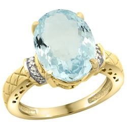 Natural 5.53 ctw Aquamarine & Diamond Engagement Ring 14K Yellow Gold - REF-89Z6Y