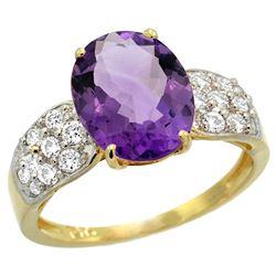 Natural 2.75 ctw amethyst & Diamond Engagement Ring 14K Yellow Gold - REF-58N4G