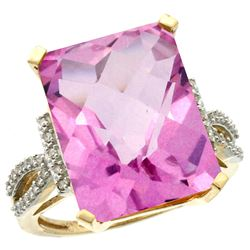 Natural 12.14 ctw Pink-topaz & Diamond Engagement Ring 14K Yellow Gold - REF-66Z2Y