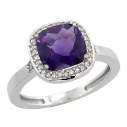 Natural 3.94 ctw Amethyst & Diamond Engagement Ring 14K White Gold - REF-38N3G