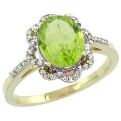 Natural 2.24 ctw Peridot & Diamond Engagement Ring 14K Yellow Gold - REF-39N4G