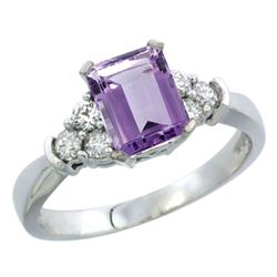Natural 1.48 ctw amethyst & Diamond Engagement Ring 14K White Gold - REF-52G3M
