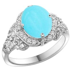 Natural 2.92 ctw turquoise & Diamond Engagement Ring 14K White Gold - REF-109W2K