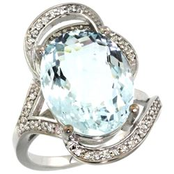 Natural 11.23 ctw aquamarine & Diamond Engagement Ring 14K White Gold - REF-191G2M