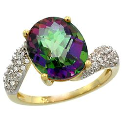 Natural 6.45 ctw mystic-topaz & Diamond Engagement Ring 14K Yellow Gold - REF-54W3K