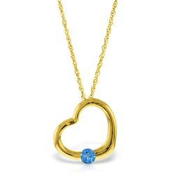 Genuine 0.25 ctw Blue Topaz Necklace Jewelry 14KT Yellow Gold - REF-29W2Y