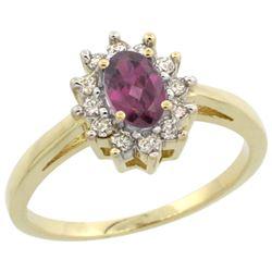 Natural 0.67 ctw Rhodolite & Diamond Engagement Ring 10K Yellow Gold - REF-39Y2X