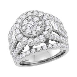 2.99 CTW Princess Diamond Flower Cluster Bridal Ring 14KT White Gold - REF-269W9K