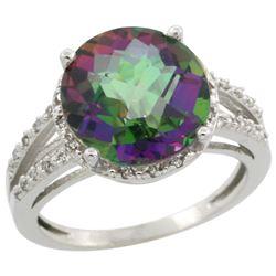 Natural 5.34 ctw Mystic-topaz & Diamond Engagement Ring 14K White Gold - REF-45R5Z