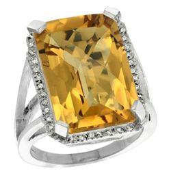 Natural 15.06 ctw Whisky-quartz & Diamond Engagement Ring 14K White Gold - REF-75K3R