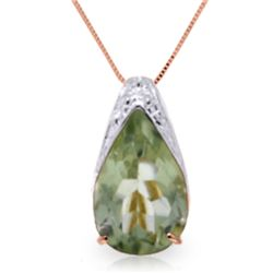 Genuine 5 ctw Green Amethyst Necklace Jewelry 14KT Rose Gold - REF-27Y2F