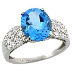 Natural 2.75 ctw swiss-blue-topaz & Diamond Engagement Ring 14K White Gold - REF-58X4A