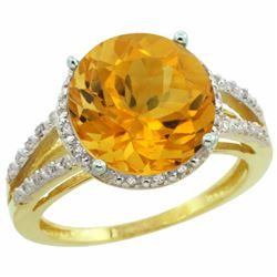 Natural 5.34 ctw Citrine & Diamond Engagement Ring 10K Yellow Gold - REF-35A4V