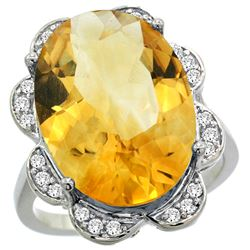 Natural 13.83 ctw citrine & Diamond Engagement Ring 14K White Gold - REF-124W4K