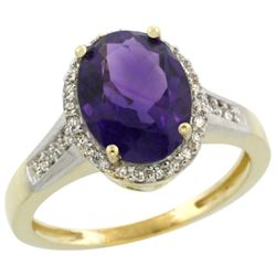 Natural 2.49 ctw Amethyst & Diamond Engagement Ring 14K Yellow Gold - REF-42X2A