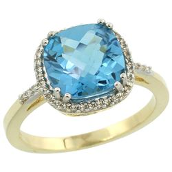 Natural 4.11 ctw Swiss-blue-topaz & Diamond Engagement Ring 14K Yellow Gold - REF-44G2M