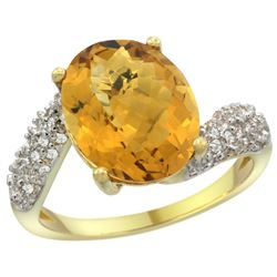 Natural 6.45 ctw quartz & Diamond Engagement Ring 14K Yellow Gold - REF-52A2V