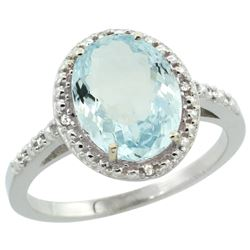 Natural 2.12 ctw Aquamarine & Diamond Engagement Ring 10K White Gold - REF-35Z4Y