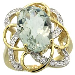 Natural 5.59 ctw green-amethyst & Diamond Engagement Ring 14K Yellow Gold - REF-59N6G