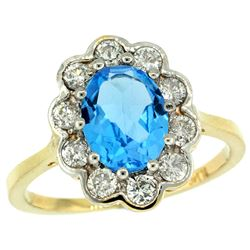 Natural 2.34 ctw Swiss-blue-topaz & Diamond Engagement Ring 14K Yellow Gold - REF-81V4F