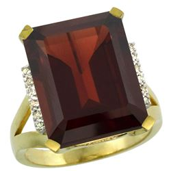 Natural 12.13 ctw Garnet & Diamond Engagement Ring 10K Yellow Gold - REF-70H7W
