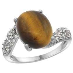 Natural 4.45 ctw tiger-eye & Diamond Engagement Ring 14K White Gold - REF-47Y5X