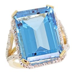 Natural 13.72 ctw Swiss-blue-topaz & Diamond Engagement Ring 10K Yellow Gold - REF-65G2M