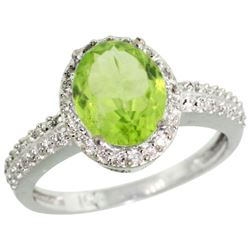 Natural 2.3 ctw Peridot & Diamond Engagement Ring 14K White Gold - REF-41Z7Y