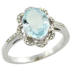 Natural 1.51 ctw Aquamarine & Diamond Engagement Ring 14K White Gold - REF-45Z3Y