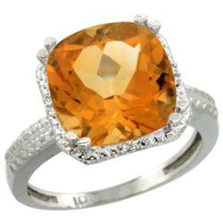Natural 5.96 ctw Citrine & Diamond Engagement Ring 14K White Gold - REF-42H3W